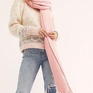 Free People Jaden Ribbed Blanket Scarf Dusty Pink